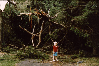 Son Alex in driveway after Hurricane Bob, 1991
